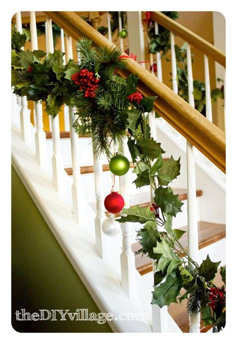 christmas garland on banister christmas banister garland the diy village