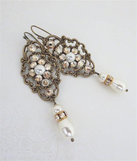 Vintage Style Bridal Pearl Earrings Pearl Earrings Wedding by Pearl Bridal Earrings Wedding Earrings Vintage
