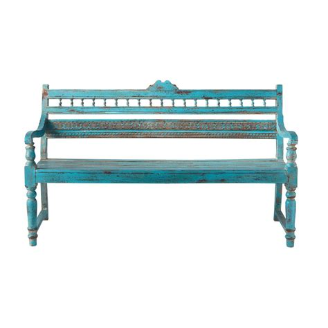 blue outdoor bench 2 seater distressed mango wood garden bench seat in blue