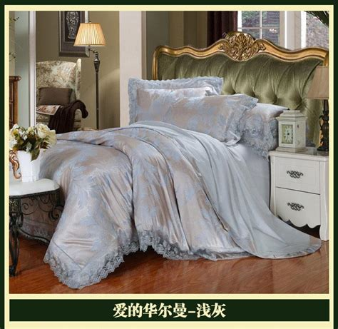 luxury brand silver grey lace satin jacquard bedding
