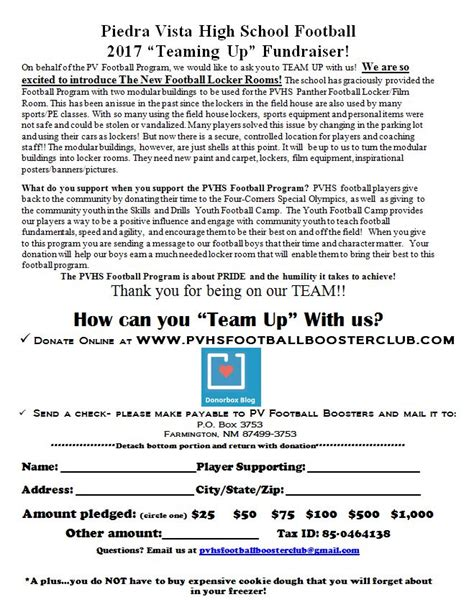 Sle Donation Request Letter Youth Football Panther News Piedra Vista High School Panther Football Booster Club