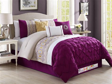 violet comforter sets 7 pc ruched pintuck geometric embroidery comforter