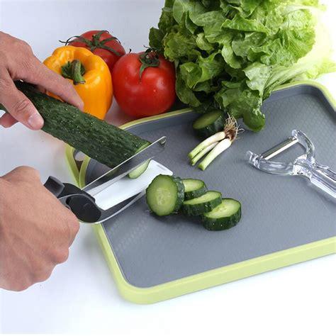 4 in 1 smart kitchen food scissors vegetable chopper clever smart 2 in 1 food scissor cutter set knife board