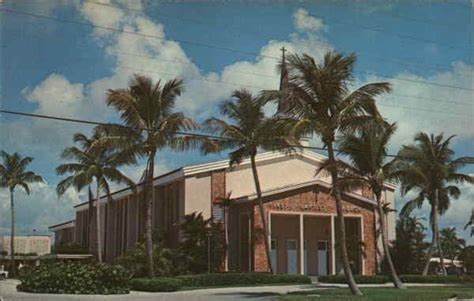 Post Office Delray by Baptist Church Delray Fl Postcard
