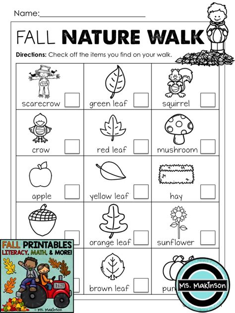 kindergarten activities nature fall printables literacy math science