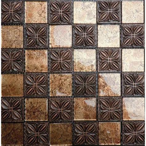flower pattern mosaic tile gold glass mosaic brown coated ceramic 3d flower pattern