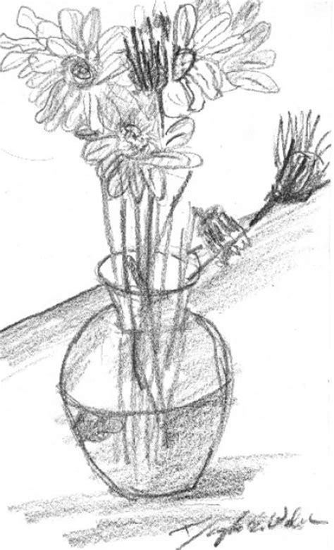 How To Draw Flowers In A Vase by Flowers In A Vase Drawing