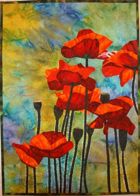 art quilt pattern red poppies pattern for art quilt with fabric by lenore