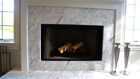 white quartzite fireplace surround