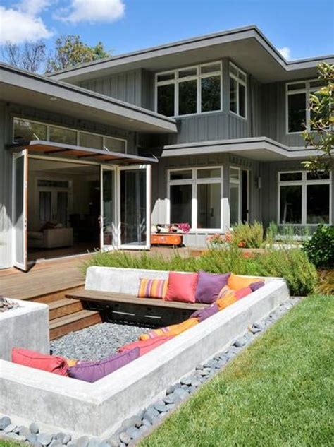 backyard seating area ideas outdoor rooms with sunken and raised areas add depth to