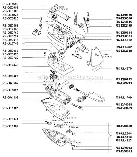 rowenta iron parts diagram rowenta de831 parts list and diagram ereplacementparts