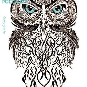 Mc690 19x12cm Hd Large Tato Stiker Gray Draw Owl shop owl tattoos temporary on wanelo