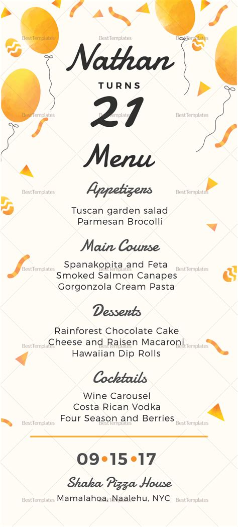Birthday Party Menu Design Template In Psd Word Publisher Illustrator Indesign Birthday Menu Template