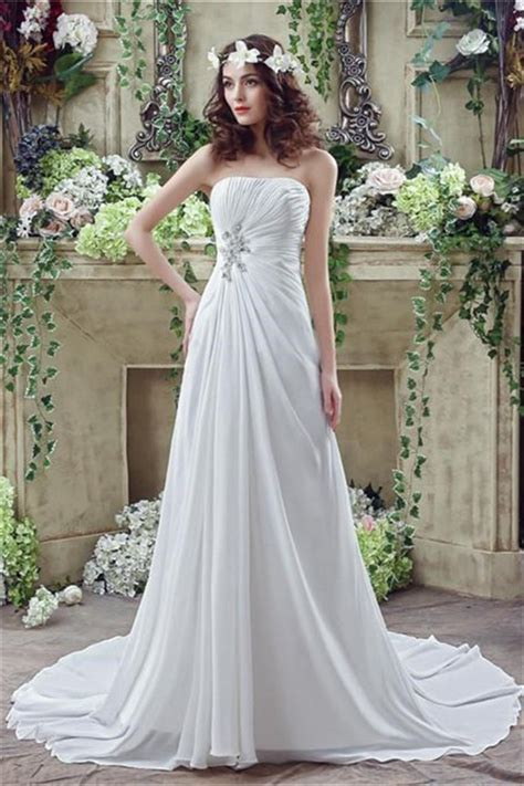 draped wedding dresses a line strapless corset back chiffon draped destination