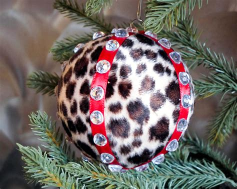 leopard print christmas ornament animal print cheetah by