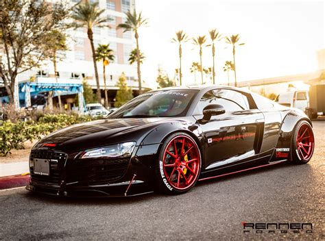 Liberty walk LB Performance Audi R8 on Rennen Forged R55 X Concave Wheels w/ Steplip Rennen