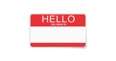custom template hello my name is rectangular sticker