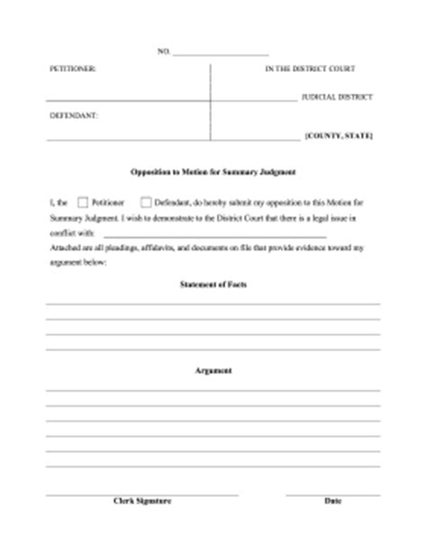 summary judgment motion template printable opposition to motion for summary judgment