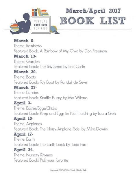 list of themes in children s stories march book list and themes for the virtual book club for kids