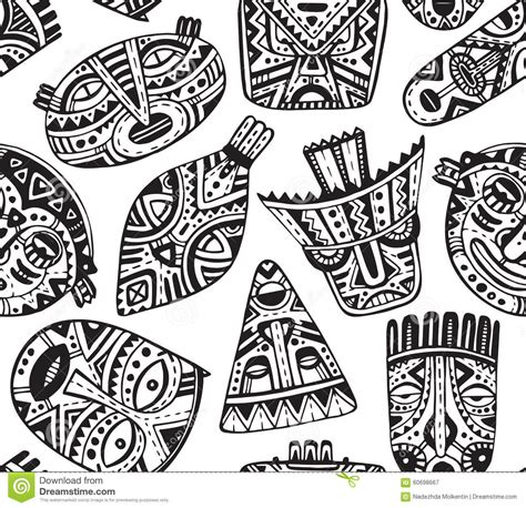 seamless vector pattern with hand drawn fancy masks in