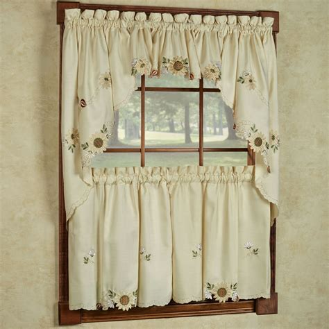 curtains with swag valance sunflower cream embroidered kitchen curtains tiers