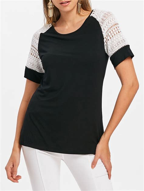 Sleeve Lace Panel T Shirt lace panel sleeve t shirt in black l sammydress
