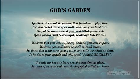 God Looked Around His Garden by God Looked Around His Garden Sympathy Sayings