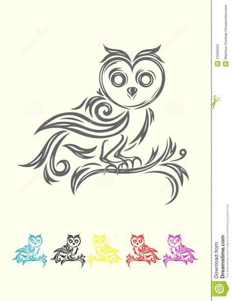 simple animal tattoo design owl tribal stock vector image 41838253