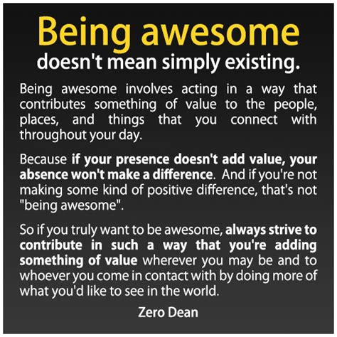 Being Awesome being awesome doesn t simply existing