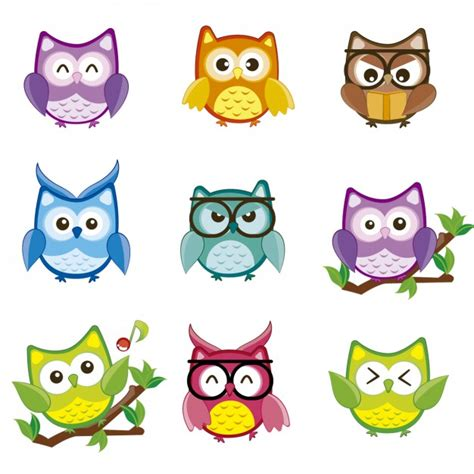 colorful owls colorful owls collection vector free