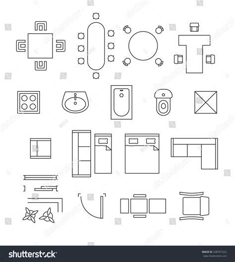 interior design symbols for floor plans furniture linear vector symbols floor plan stock vector