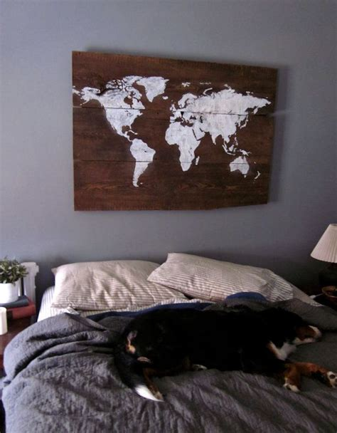 world map headboard world map handpainted wood sign headboard stains