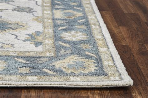 Area Rugs Wool Traditional Motifs Vines Wool Area Rug In Gray 10 X 14