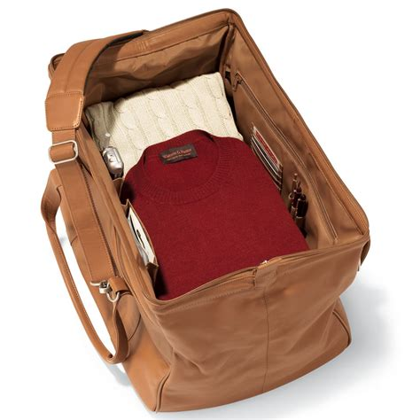 leather bag the widemouth leather weekend carryon bag hammacher