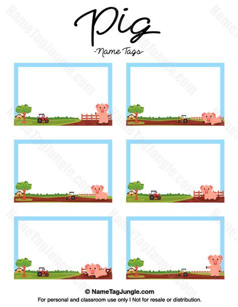 printable pig  tags