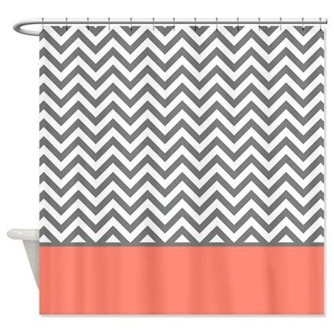 Coral Chevron Curtains Grey And Coral Chevron Shower Curtain Zig Zag Designs Coralchevronshowercurtainglam