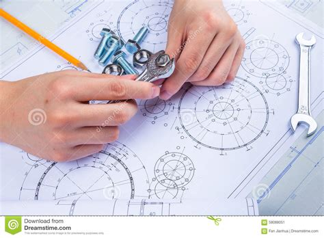 work from home design engineer mechanical design engineer in drawing stock image image