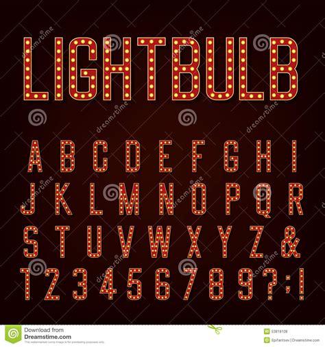 light font retro lightbulb alphabet vector font stock vector image