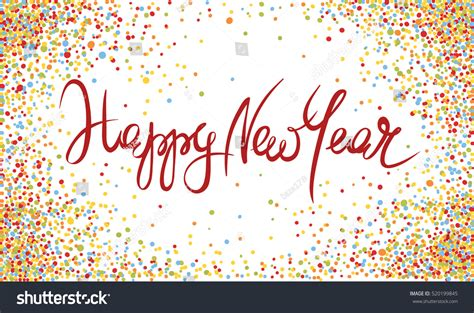 happy new year title vector happy new year handwritten calligraphy with confetti