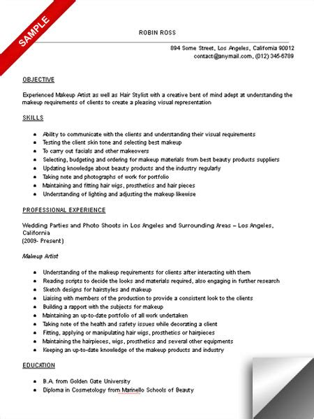 makeup artist resume templates makeup artist resume objective exles www