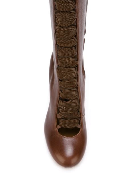 chlo 233 lace up knee high boots in brown lyst