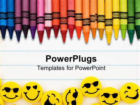 Powerpoint Template Rainbow Color Crayons And Yellow Erasers With Faces On Lined Paper Powerpoint Color Templates