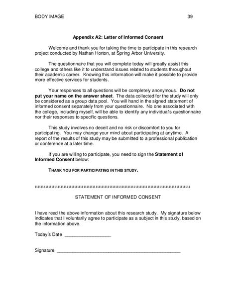 Research Study Consent Letter Sle Factors Affecting Image In College Students