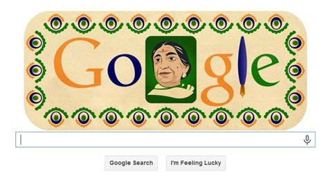 doodle for india 2014 results nightingale of india sarojini naidu honored with a