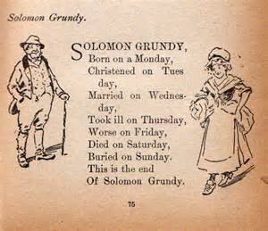 The nursery rhyme solomon grundy was first published in 1842