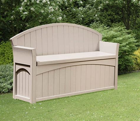outdoor bench with storage suncast patio garden outdoor bench with 50 gallon storage