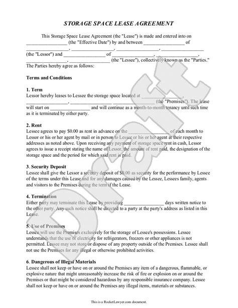 Garage Storage Lease Agreement Form Free Storage Rental Agreement Self Storage Unit Lease
