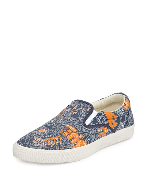 on sneakers bucketfeet voyage canvas slip on sneaker in orange for