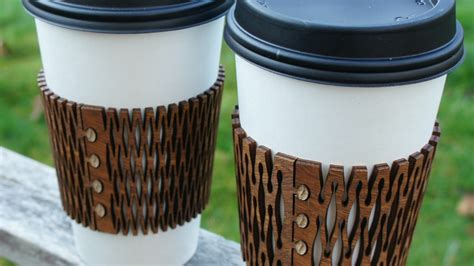 kerf cuff wooden coffee sleeve cozy  miy