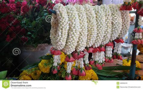 Gardenia Garland Flowers Garland At Fresh Market Thailand Stock Photo